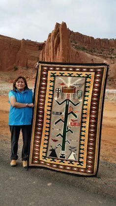 Cornstalk Yei Pictorial Navajo Rug Woven by Master Weaver Selena Yazzie. So gorg… - Modern Native American Rugs, American Indian Art, Native American History, Native American Indians, Navajo Weaving, Navajo Rugs, Native Indian, Native Art, Navajo Culture