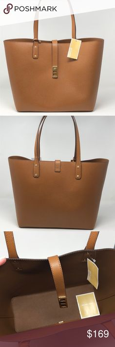a5daa6a7fcc4a6 Nwt Michael Kors Carryall tote brown Leather with gold tone hardware.  Approximate measurement:12. Poshmark