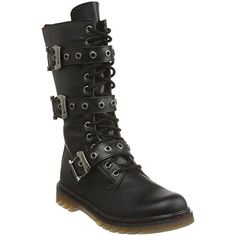 DEMONIA DISORDER-303 Men Gothic Punk 14 Eyelet 3 Buckle Mid Calf Combat Boot