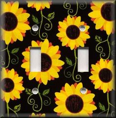 Switch Plates And Outlet Covers - Sunflowers On Black - Floral Home Decor
