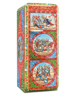 italian companies dolce&gabbana and smeg have collaborated to create 100 limited-edition refrigerators that celebrate the decorative richness of sicilian traditions. six artists took the FAB28's sinuous lines and nostalgically retro formand hand-painted them with images the reference the island like lemons, the trinacia symbol, cart wheels, medieval knights, and battle scenes. all these pay a tribute to the sicilian cart, or carretto in italian, that is also part of the exhibition