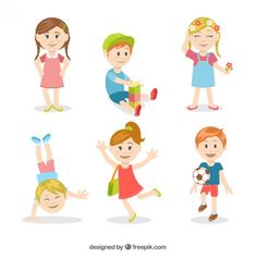 Colorful kids illustration Free Vector