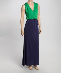 Look what I found on #zulily! Green & Navy Color Block Maxi Dress by GLAM #zulilyfinds