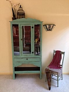 Shabby Chic Hutch Armoire by StellaBiondaDesigns on Etsy
