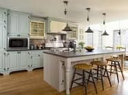 Country, farmhouse kitchen. Light blue cabinets
