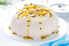 An+Aussie+favourite,+pavlova+is+prized+for+its+crisp+meringue+and+soft,+marshmallowy+centre.