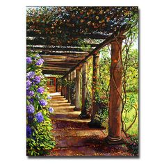 This ready to hang, gallery-wrapped art piece features a pergola walkway. David Lloyd Glover has a 25 year international reputation exhibiting in major galleries in the US, Canada, Mexico and Japan. H