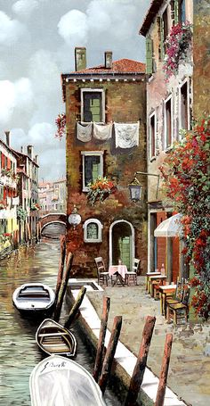 Venice Painting - Osteria Sul Canale by Guido Borelli Simple Oil Painting, Painting & Drawing, Easy Landscape Paintings, Venice Painting, Painting Inspiration, Folk Art, Watercolor Paintings, Scenery, Art Gallery