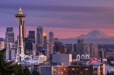 Space Needle and Mt. Ranier in/near Seattle, WA. Family vacation in Aug. '09.