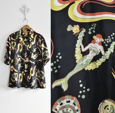 Vintage 1940's MERMAID PRINT Rayon Hawaiian Aloha Shirt