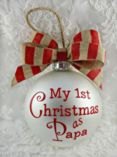 Nana Ornament My First Christmas as Papa Personalized Grandpa Christmas Ornament Handpainted Keepsake Gift for Daddy by ChristmasOrnament on Etsy