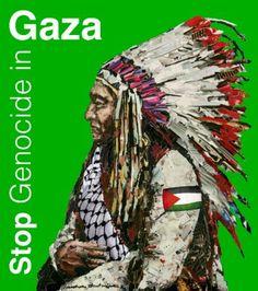 Stop Genocide in Gaza, une affiche de Mustapha Boutadjine, réalisée en août 2014