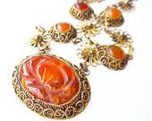 Chinese Export Necklace Carved Carnelian Gilt Filigree Art Deco Jewelry