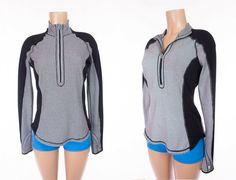 LULULEMON Run U-Turn Pullover Reversible 8 M Classic Stripe Polar Haze Black LS #Lululemon #ActivewearPullover