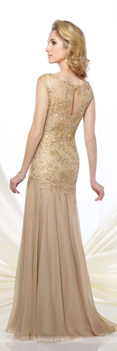 Montage by Mon Cheri - 216962 - Two-tone chiffon and metallic lace fit and flare gown with slight cap sleeves, illusion lace bateau neckline over sweetheart bodice with dropped waistline, keyhole back, gathered skirt with sweep train. Matching shawl included. Sizes: 4 - 20 Blue Smoke, Light Gold, Sapphire