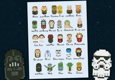 Star Wars Alphabet chibi  PDF  cross stitch door cloudsfactory, $12.00