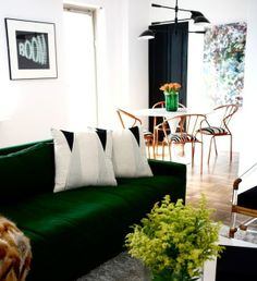 Peonies and Brass: green goodness: pops in every room