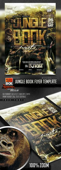 Jungle Book Flyer Template  — PSD Template #zoo #summer • Download ➝ https://graphicriver.net/item/jungle-book-flyer-template/18440201?ref=pxcr