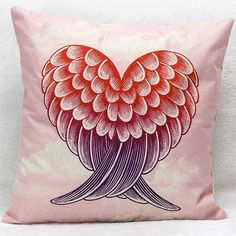 5.83$  Watch here - http://di23z.justgood.pw/go.php?t=198705902 - Red and Black Heart Wings Decorative Super Soft Household Pillow Case 5.83$