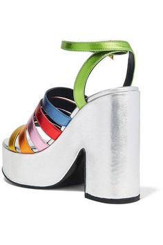 MR by Man Repeller - Lol If You Think I'm Walking Metallic Leather Platform Sandals - Silver - IT37.5