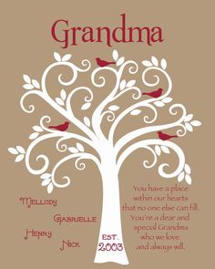 Grandma Gift Family Tree 8x10 Custom Print by KreationsbyMarilyn
