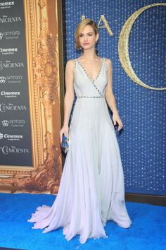 Lily James has got the princess style down for the red carpet.
