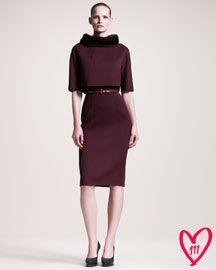 Carolina Herrera Mink-Collar Dress