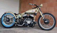 1942 model 45 WLA Harley Davidson, Huettisheim-Humlangen, Germany.  www.flathead-bobbers.com