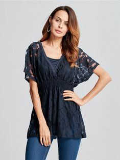 Sexy Women Lace V-neck Two Piece Blouse