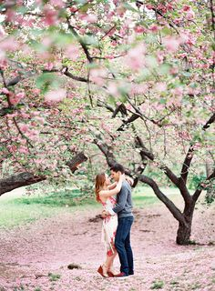 Cherry Blossom Kisses: http://www.stylemepretty.com/2015/02/16/adorable-nyc-engagement-session/ | Photography: Alicia Swedenborg - www.aliciaswedenborg.com