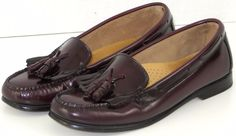 Womens Bass Weejuns Jackie Burgundy Leather Loafers Shoes Tassels Kiltie 7M #Bass #LoafersMoccasins #Casual