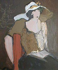 Woman with White Hat (21x18 serigraph)view more by Itzchak Tarkay