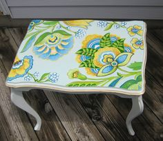 SOLD Hand-painted Cottage antique Table. Original art work. One of a kind piece of Art Retro Furniture. Vintage End Table.