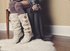 MUK LUKS Malena Sweater Boot in Vanilla + Fairisle Pattern over the knee socks