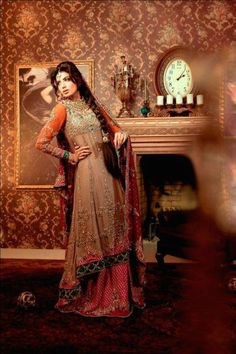 pakistani designer wear. long kamez lehnga