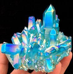 595g Light blue Quartz Crystal Titanium Coating Crystal Cluster Rainbows  A-266