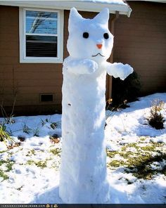 Funny Pictures - Snowman Cats. O, teh weathur owtsyd iz friteful!