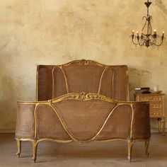 Stunning Louis XV Cane Bed in Gold $2,195.00 #thebellacottage