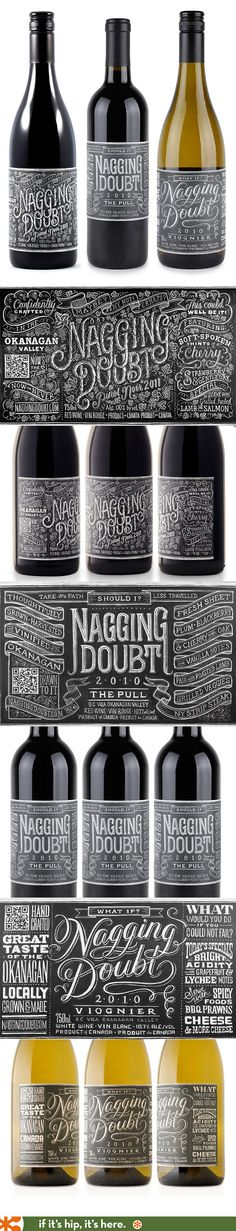 Found another Canadian wine we must find Sinclair ! Nagging Doubt Wines have beautiful lettering on their labels created by Tanamachi Studio PD Wine Bottle Design, Wine Label Design, Wine Bottle Labels, Beer Label, Beverage Packaging, Bottle Packaging, Brand Packaging, Packaging Design, Branding Design