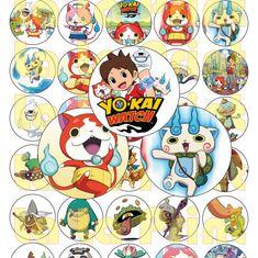 30 Yo Kai Reloj Digital partido pegatinas círculos por LaLaPrint