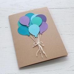 Carte danniversaire ballon bouquet | Etsy