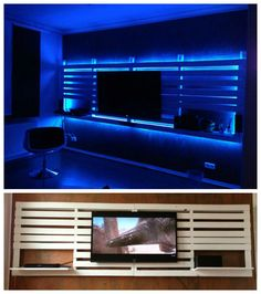 A wall TV mount from repurposed pallets. Size: 4 m x 1,40 m with integrated…