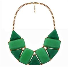 Geometric Gemstone Necklace in Kelly Green--would look gorgeous with black