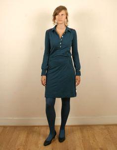 Donkerblauwe longsleeve jersey jurk - ISIS