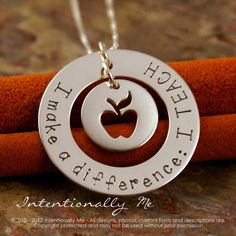 Hand Stamped Teacher Necklace - Personalized Sterling Silver Jewelry - Teacher Necklace I make a difference