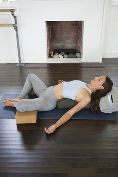 supported bound angle pose  ---  6 Easy Yoga Moves for Relieving Stress