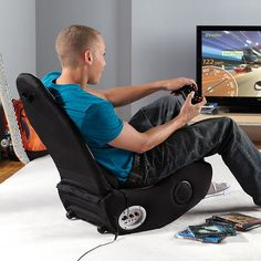 Not your average gaming chair...This thing's got a sound-responsive massaging pillow.