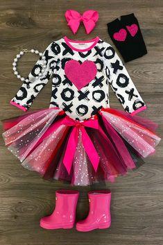 Hot Pink Glitter Heart Tutu Skirt Set