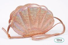 mermaid sea shell bag in iridescent glitter sand color only one in lavender