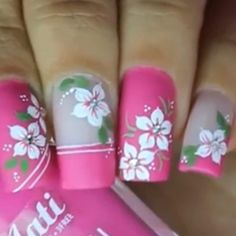 Pink Nail Art, Flower Nail Art, Nail Art Diy, Nail Shapes Square, Really Cute Nails, Red Nail Designs, Trendy Nail Art, Rainbow Nails, Classy Nails